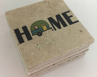 Camping Coasters HOME with Camper Natural Stone Coasters Set of 4 Perfect For Camper Green