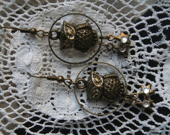 OWL EARRINGS- Antique gold