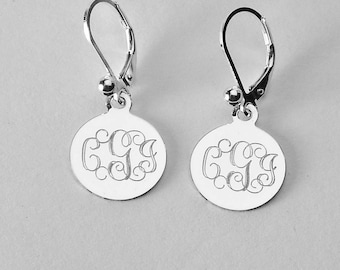 Custom Engraved Monogram Earrings Personalized Small 1/2 Inch Sterling Silver Round Lever Back Earrings - Hand Engraved