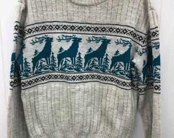 Vintage 80s Mens Sweater REPAGE Crewneck Teal Deer Print Acrylic Sz Medium