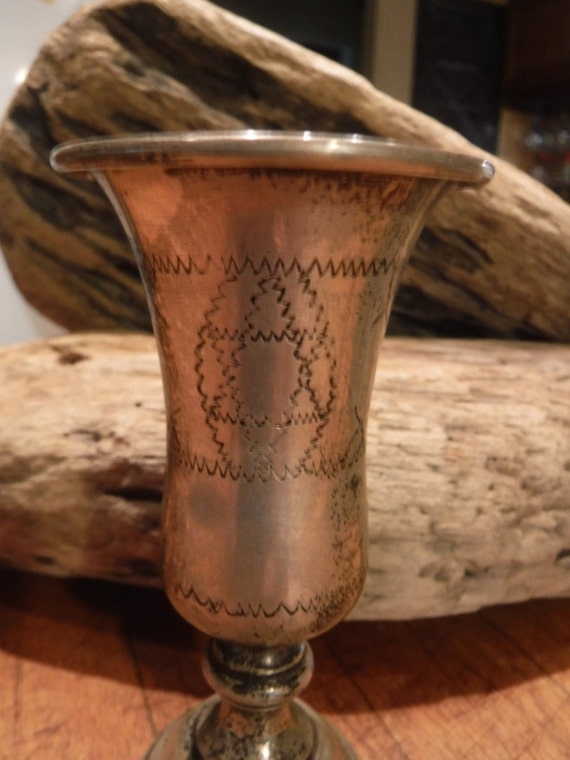 "Vintage Kiddush Cup Goblet  Sterling Silver 925 Handmade Goblet Cup Heavy 43.5 grams 4. 1/4"" Tall Arts Crafts Star of David  Hand Engraved"