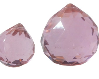 2pc Set Pink Chandelier Crystal Faceted Balls 20mm & 30mm Prism Shabby Chic