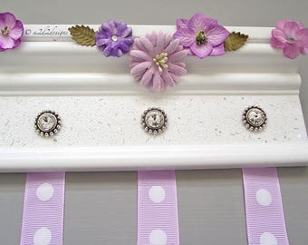 "Lavender Baby Bow Holder 8"", Wall Organizer, Small Flower Nursery Decor, Hair Clip Storage, Baby Girl Gift, Ready to Ship"