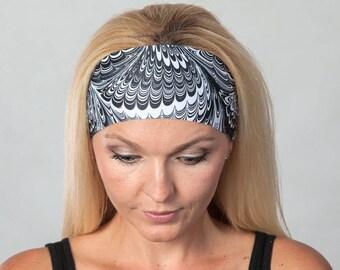 Yoga Headband-Wide Fitness Headband-Running Headband-Boho Headband-Black and White Headband-Moisture Wicking Headband-No Slip Headband