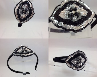 Handmade by me Flapper 1920's Vintage Style headband Silver and Black embellished band