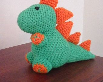 Crochet Green and Orange Dino/Dragon Stuffed Animal