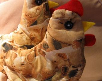 Chicken  Potholders / 2 for One Set includes  Handmade with Pig  Decor Potholder Plus  Pumpkin Soup Recipe  Bookmark