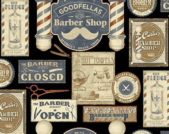 Vintage Barber Shop Mustache Quilting Cotton Fabric; [[by the half yard]]