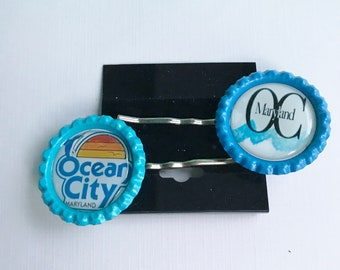 Ocean City Maryland Hair Pins, Ocean City Maryland Bobby Pins, Ocean City Hair Accessories, OC Wave Hair Pins, Set of 2 Ocean City Hair Pins