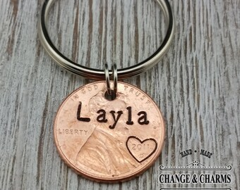 Custom Name Penny Keychain, Penny Keychain, Lucky Penny Keychain, Personalized Keychain, Penny Keychain, Keychain, Personalized Gift, Custom