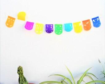 super mini papel picado, mini mexican banner, mini shield shape bunting, mexican party decor XXS