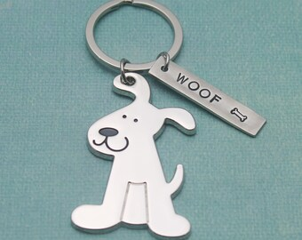 Woof Personalized Dog Hand Stamped Pewter Keychain