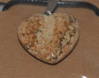 Picture Jasper Heart Stone Pendant Necklace