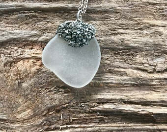 Sea glass and pyrite necklace