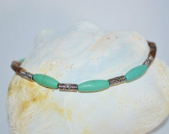 Ankle Bracelet Turquoise & Coconut Beads, Turquoise Anklet, Wood Bead Anklet, Thin Anklet, Thin Turquoise Anklet, Turquoise Beach Jewelry