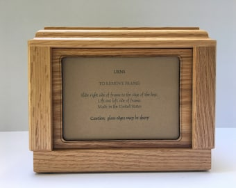 Pet Urn, Dog Urn, Cat Urn, Oak Pet Urn, Pet Urn with picture frame,