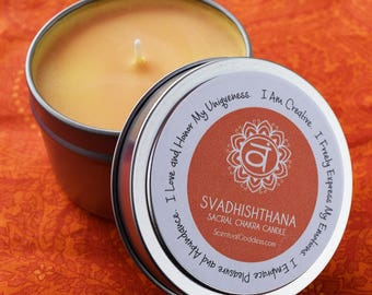 Sacral Chakra Candle Svadhishthana - Be Creative, Live with Passion, Embrace Your Divine Feminine Energy - Heal Your 2nd Orange Naval Chakra