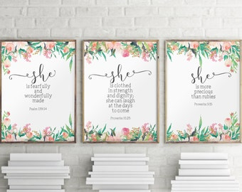 Nursery quotes, Scripture prints, Set of 3 prints, Scripture art, Baby girl nursery, Inspirational art, Motivational print, Nursery BD1043