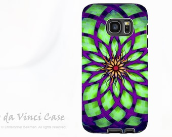 Geometric Lotus Flower Case for Samsung Galaxy S7 - Premium Dual Layer Galaxy S 7 Case with Green and Purple Abstract Art - Kalotuscope