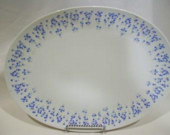 Large Platter Sheffield Rhapsody,Blue Delicate Flowers, 503 Platter,Japan Fine China