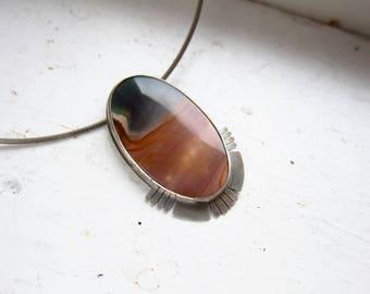 SOL Polychrome Jasper Sterling Silver Pendant on Omega Chain