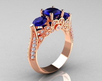 Classic 14K Rose Gold Three Stone Diamond Blue Sapphire Solitaire Ring R200-14KRGDBS