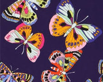 Butterfly in Midnight Purple - Alexander Henry cotton fabric - half yard or more