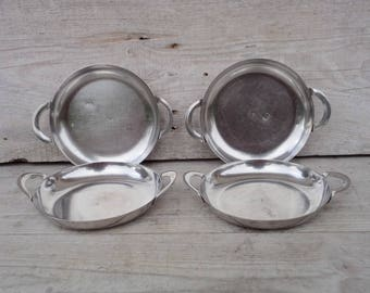 Vintage Stainless Steel Plates, Set of 4 Plates with handles, Travel Plates, Camping Plates, Bulgarian Army Plates, Soviet Era Kitchen