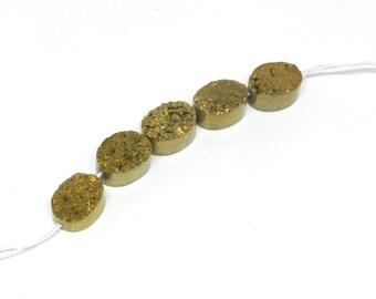 Gold Plated Quartz Druzy- 5 Beads PD001
