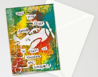 """Flight of Life 5""""x7"""" Blank Birthday Card with Envelope, Birthday Cards, Cards with a Plane, Stationery"""