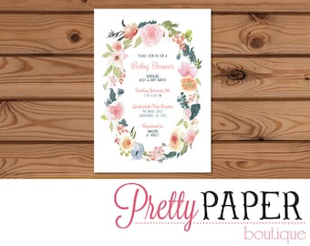 Floral Baby Shower or Wedding Shower Invitation - Digital or Printed