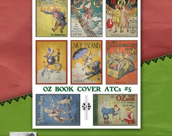 Oz Book Cover ATC Sheet #5, Vintage Printable, Instant Download, Childrens Book Illustration, Storytime, Wizard of Oz, Fairy Tales