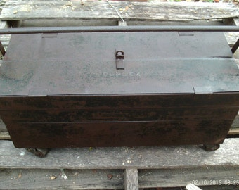 Vintage Duplex Toolbox, Rustic Industrial Metal Box, Cantilever Fold-Out Toolbox,Vintage 1930 s Tool Box, Rolling Casters, Patina,Photo Prop
