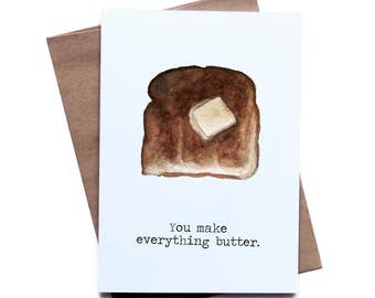Food Pun Greeting Card for Him Her I Love You Birthday Anniversary Boyfriend Girlfriend Husband Wife, father's day
