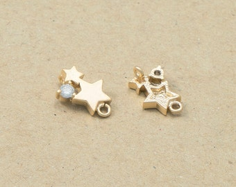 Cubic Star Connector, Constellations Pendant, Craft Supplies, Matte Gold Plated over Brass - 2 Pieces -[GC0016]-MG