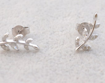 Sterling Silver  Sparkly CZ Crystal Paved Little Tree Branch Leaf Stud Earrings, Post Earrings, Nature Inspired e55