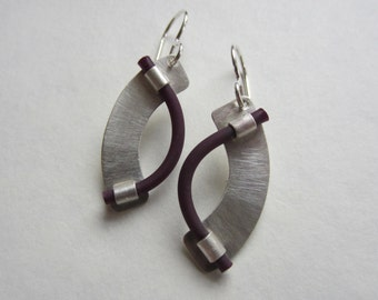 Rubber and Silver Earrings modern asymmetric curve color choices