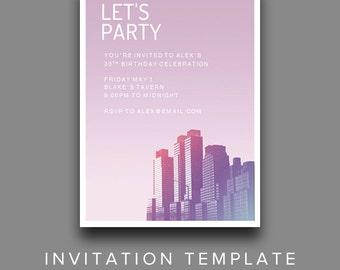 Cityscape Invitation Template - Editable Party Invitation Printable for Microsoft Word