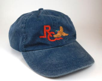 Vintage Denim Embroidered Duck Dad Hat // Denim Baseball Cap // RC Hat