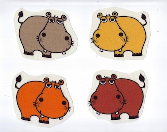 "Set of 4 Appliques sewing textile ""Hippos all beautiful and funny"" for your creations"