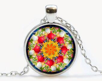 Mandala Glass pendant. Mandala necklace. Mandala  jewelry, birthday gift