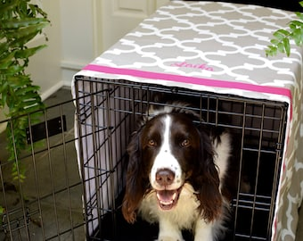 Personalized Crate Cover | Quatrefoil with Hot Pink Name | Dog Kennel Cover with Pet Name | Custom Puppy Gifts by Three Spoiled Dogs