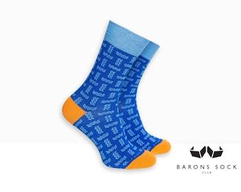 Men Socks | Socks for Men | Men Dress Socks | Wedding Socks | Groomsmen Socks | Groom Socks | Cotton Socks for Men | Blue Wave Pattern Socks