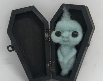 Blue ghost in coffin  Original one of a kind art doll