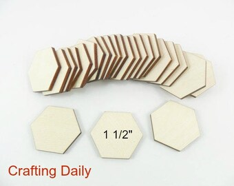 "Wood Hexagon 1 1/2"" (38.1mm) side/side x 1 3/4"" (44.45mm) point/point x 1/8"" Laser Cut Wood Tiles Game Pieces - 25 Pieces"