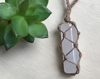 Rose Quartz Healing Crystal Necklace - HandWrapped Hemp Necklace - Quartz Crystal Pastel Necklace - Boho Crystal Necklace - Gypsy Necklace