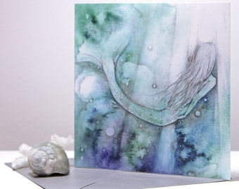 CARD I must be a Mermaid, Watercolor Mermaid Quote  - frame-able square art card Anais Nin Quote, Mermaid art