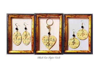 Music earrings and Wooden keychains Handmade decoupage musical notes goes thought