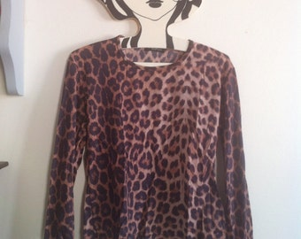 1990s stretchy tshirt leopard panther cheetah animal print / small - medium