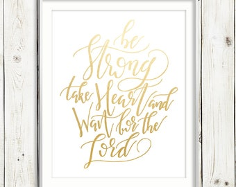 Wait for the Lord / GOLD FOIL / Psalm 27:14 / Scripture / Hand Lettered Print / Printable / Instant Digital Download / Calligraphy